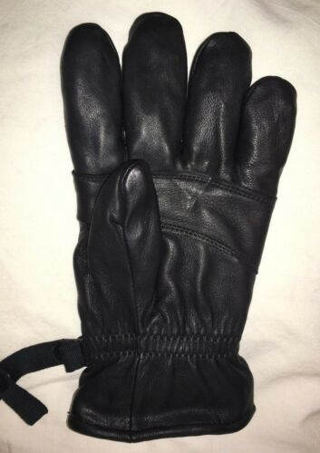 SIZE:2 SMALL MEN AND WOMEN Details about  /MILITARY BLACK LEATHER GLOVES 1 PAIR