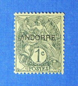 Stamps Europe 1931 Andorra French 1c Scott# 1 Michel # 2 Unused Cs26060 Wide Varieties