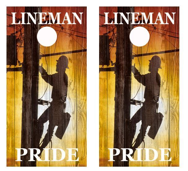 Electrical Lineman Pride Barnwood Cornhole Board Wraps FREE SQUEEGEE