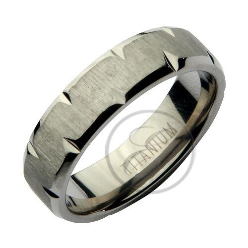 Anello in titanio frastagliato Design Fede nuziale 6mm