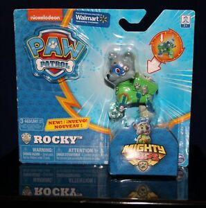 PAW Patrol Mighty Pups Rocky Figure with Light-up Badge and Paws