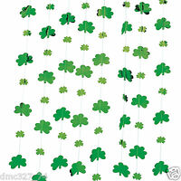 12 St Patrick's Day Party Decoration Hanging Foil Shamrock String Decorations