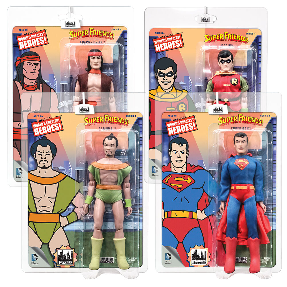 Super Friends Retro Style Style Style azione cifras Series 1  Set of tutti 4 by FTC 7e28e7