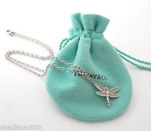 070ae1d96 Tiffany & Co 18K White Gold Diamond Dragonfly Necklace Pendant Charm ...