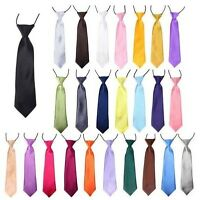 Classic Satin Elastic Neck Tie for Wedding Prom Boys Children School Kids Tie