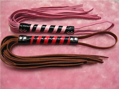 Suede Whip Handle w/ Wrist Flogger Pink or Brown