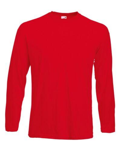 5 Pack Men/'s Fruit of the Loom Long Sleeve T Shirt Plain Tee Shirt Top Cotton