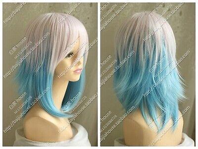 Evil crown Lost Christmas light pink gradient blue short hair cosplay wig