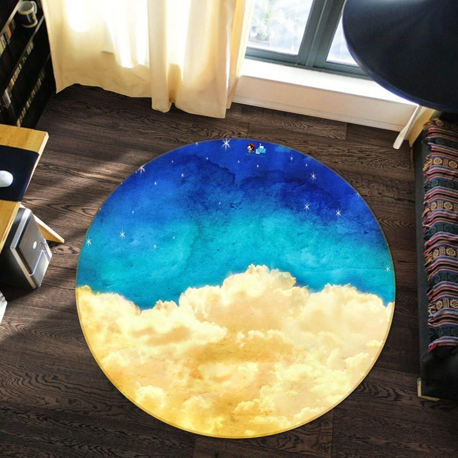 3D Cloud Stars 7 Non Slip Rug Mat Room Mat Round Quality Elegant Photo Carpet US