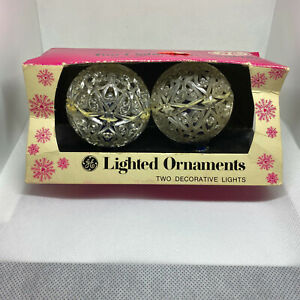 2 Vintage General Electric GE Lighted Ornaments Blue Bulbs ...