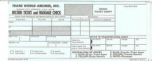 Airline Ticket - TWA - 2 Flight - Travel Agent Issue
