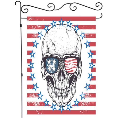 Cool skull with glasses Garden Flag House Double-sided Decor Yard Banner