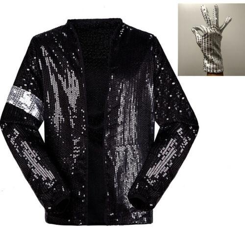 Michael Jackson Costume MJ Thriller//Beat it//Billie Jean Jacket Coat Free Glove