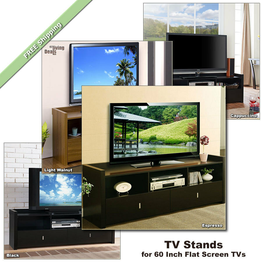 60 inch tv stand for 60 inch flat screens tvs media console table wood tv stands ebay. Black Bedroom Furniture Sets. Home Design Ideas