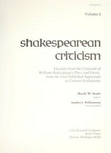 Shakespearean Criticism Hardcover Michelle Lee
