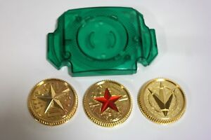 Master-Morpher-Green-Lens-amp-Set-of-3-Power-Gold-Coins-Ranger-Cosplay-Prop