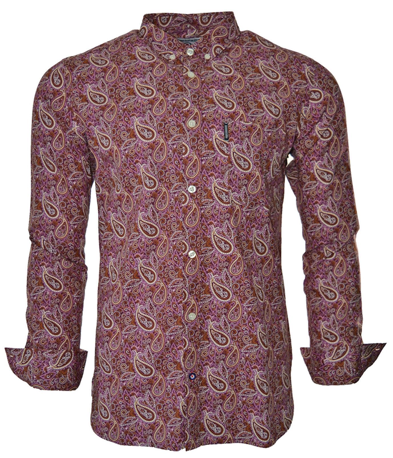 Lambretta Paisley chemises pour pour pour homme Mod Rétro en coton à manches longues Boutonnée UK S-3XL e8c511