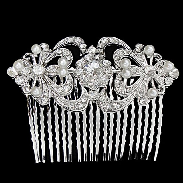 Wedding Bridal Headpiece Crystal Diamante Vintage Silver & Pearl Hair Comb