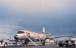 CONTINENTAL AIRLINES-VISCOUNT AT STAPLETON AIRPORT-DENVER COLORADO 1958 POSTCARD