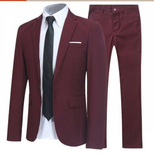 Mens Long sleeve Work Professional Slim suit Blazer jackets pants 2 piece Casual