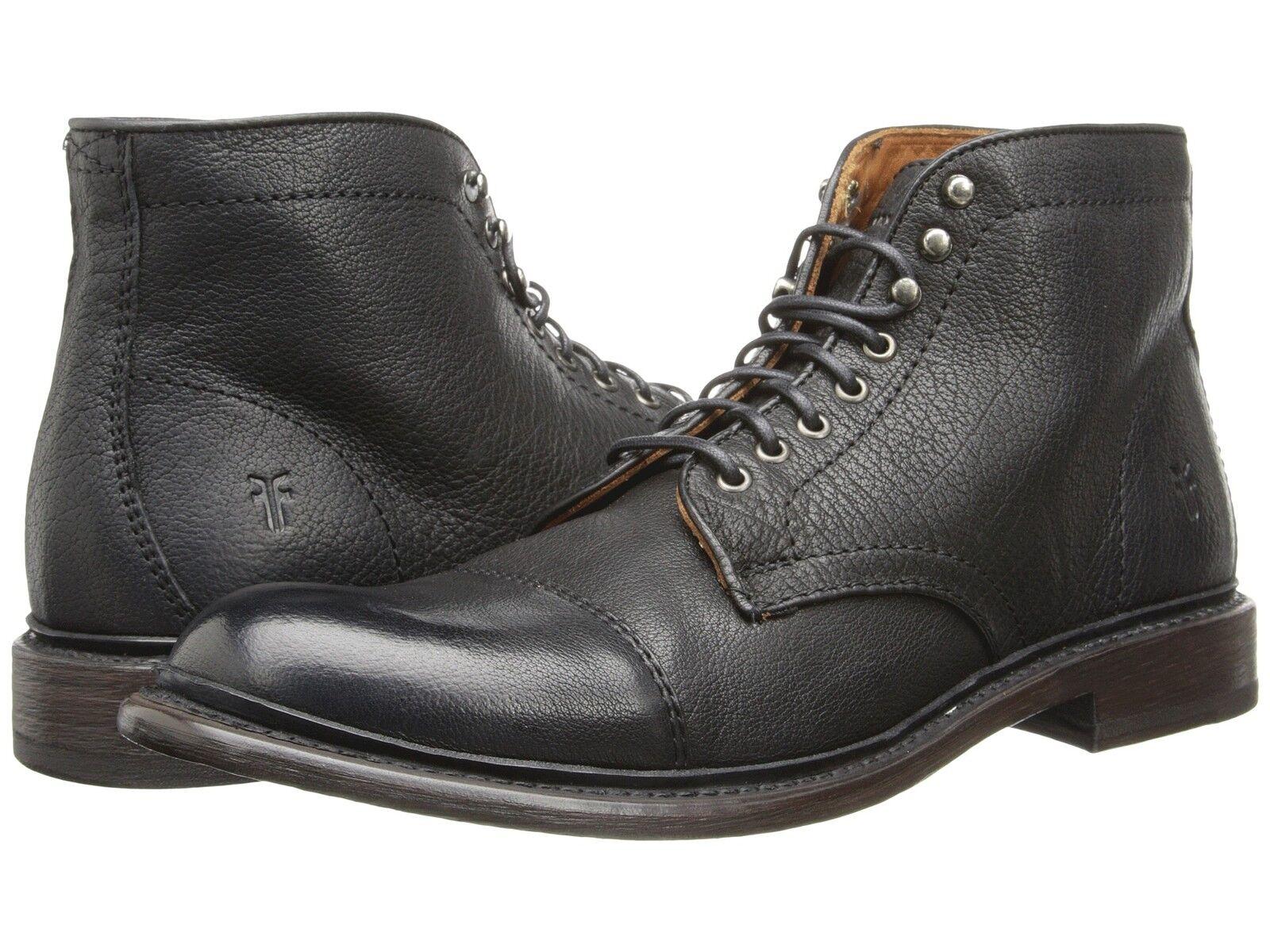 Men's Frye stivali Jack Cap Toe Lace Up avvio nero Leather 87893 BLK