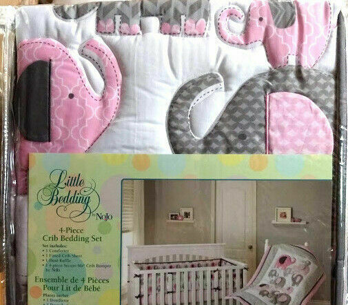 Little Bedding by NoJo Elephant Time 4-Piece Crib Pink Bedding Set with Bumper