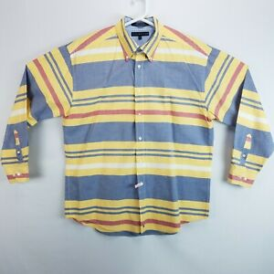 Tommy-Hilfiger-Mens-XL-Vertical-Striped-Long-Sleeve-Button-Front-Shirt