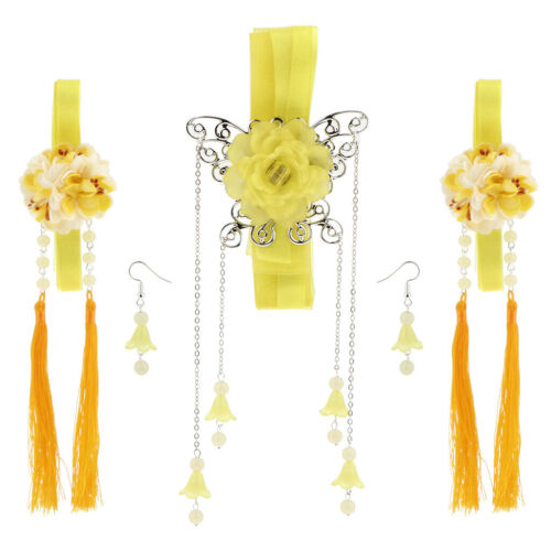 Traditional Chineses Lady Girls Hair Clip Ribbon Tassel Earring Dangle Set