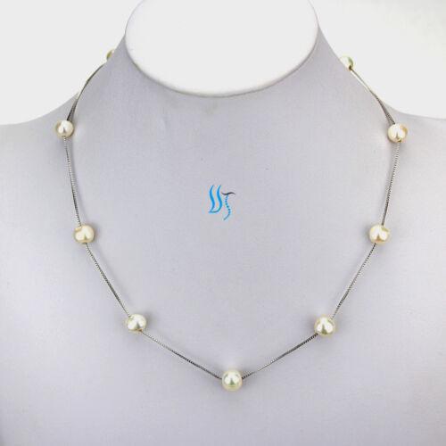 "18/"" 8-9 mm Blanc AA Freshwater Pearl Tin Cup Chain W"