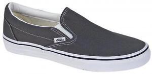 502b225f4b7047 Vans Slip On Charcoal Gray White Skateboarding Mens Shoes Sneakers ...