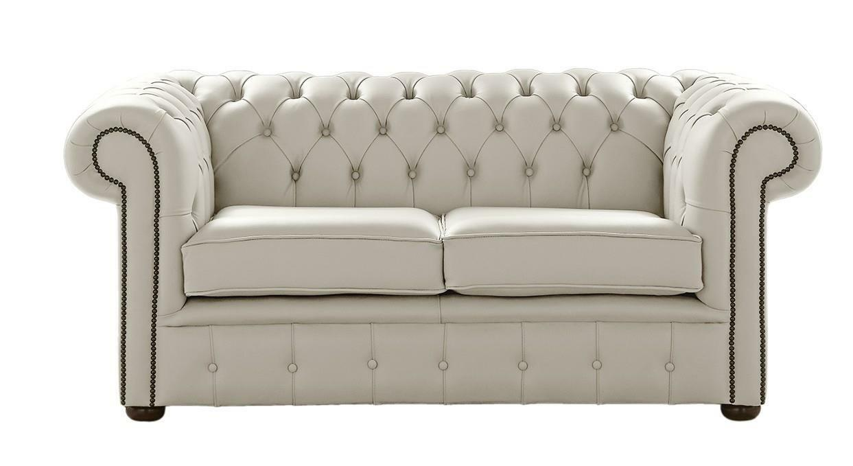 Fantastic Details About Chesterfield Handmade 2 Seater Shelly Seely White Leather Sofa Settee Machost Co Dining Chair Design Ideas Machostcouk