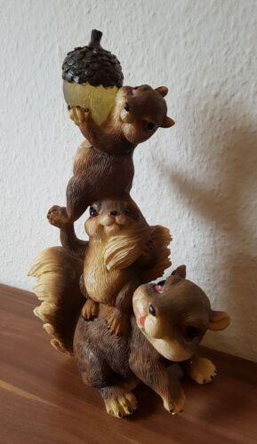 Eichhörnchen Trio mit Led Eichel-Garten-Balkon-Teich-Terrasse