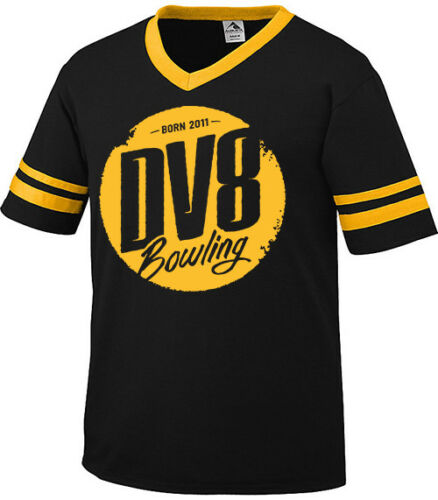 DV8 Men/'s Dude T-Shirt Bowling Sleeve Stripe Ringer Jersey 50//50 Black Yellow