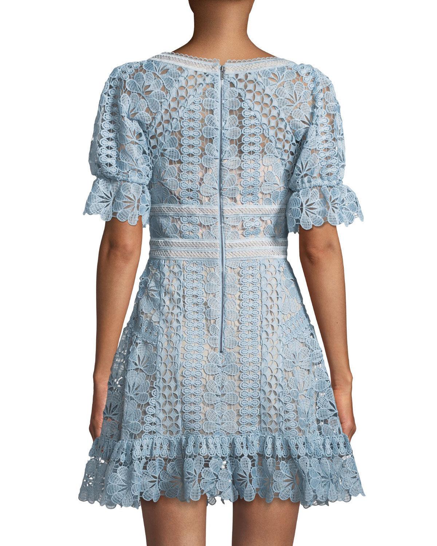 SELF PORTRAIT Baby bluee Floral Guipure Lace Mini Dress UK14  US 10