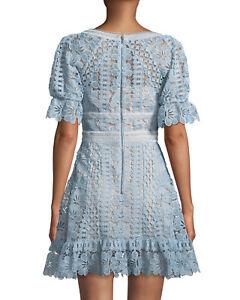 Details About 475 Self Portrait Baby Blue Floral Guipure Lace Mini Dress Uk14 Us 10