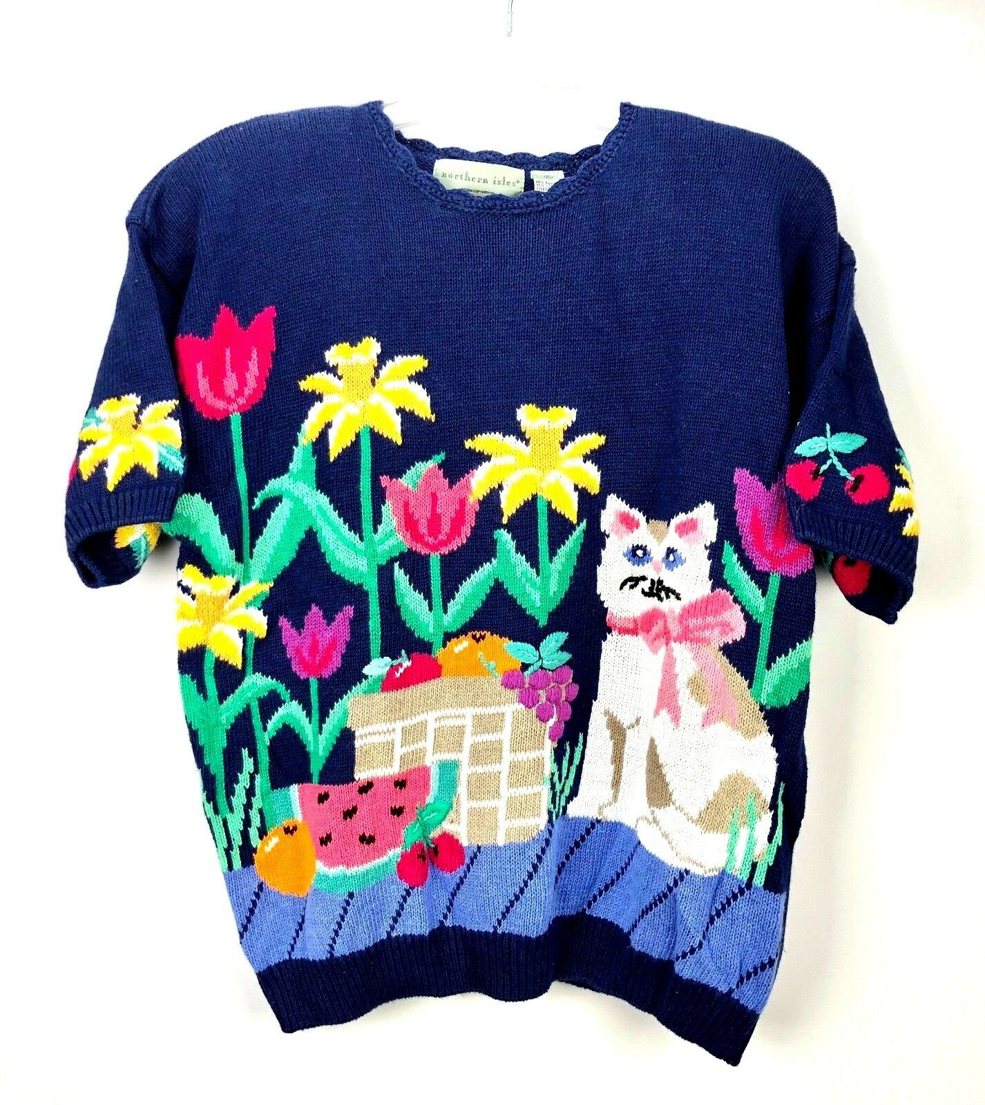 VTG NWT Northern Isles Sweater Womens XL XL XL Kitty Cat Person Bowl Of Fruit Floral d159f0