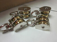 4pc 3/4 Double Wheel Brass Sheave Die-cast Chrome Pulley Rope Wire Hoist