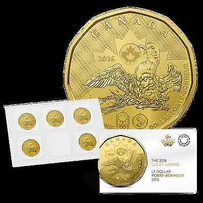 Olympic Lucky Loonie BU from Mint roll 2016 $1 Canada Dollar