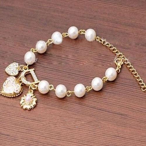 Femmes Bijoux Perle Fleur Cadeau Love Heart Crystal Bracelet Bangle Fashion Charme
