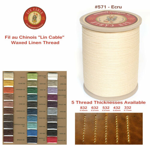"Fil Au Chinois 50g /""Lin Cable/"" WAXED LINEN thread #571 ECRU 5 sizes avail"