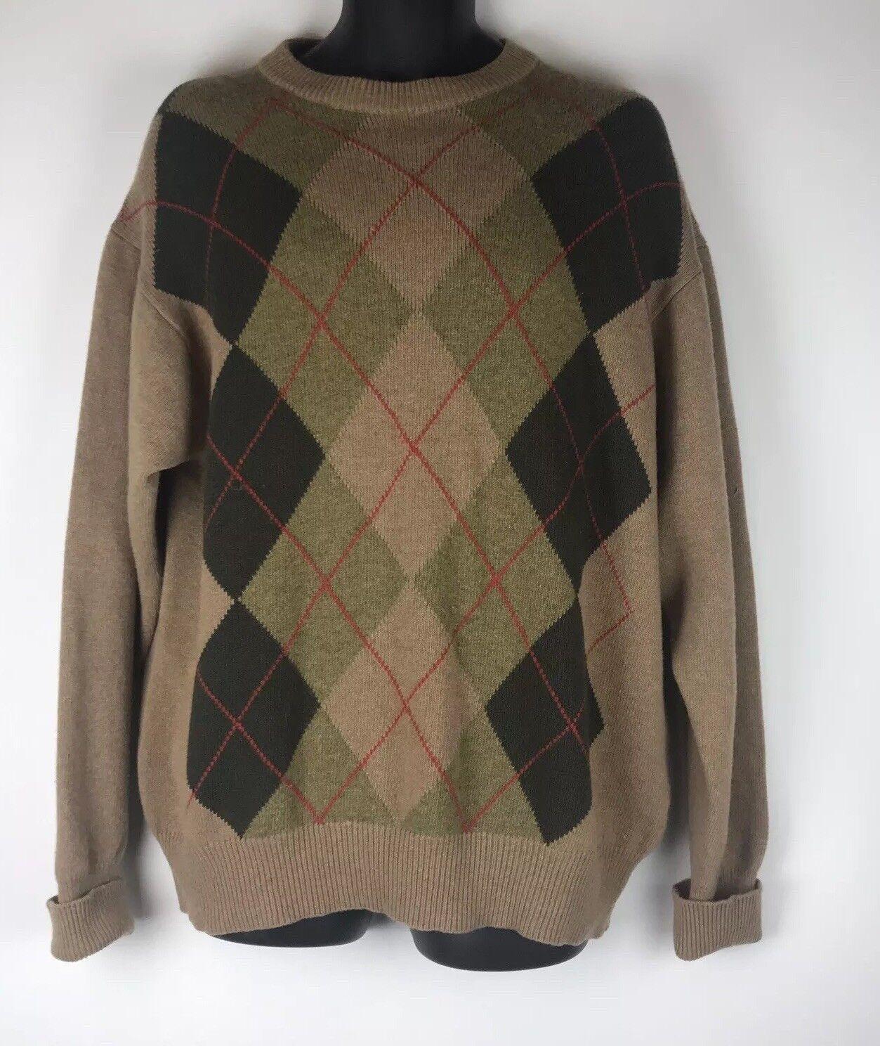 BARBOUR Größe Large Vintage  Herren Diamond Print Braun Mix Wool & CashmereJumper