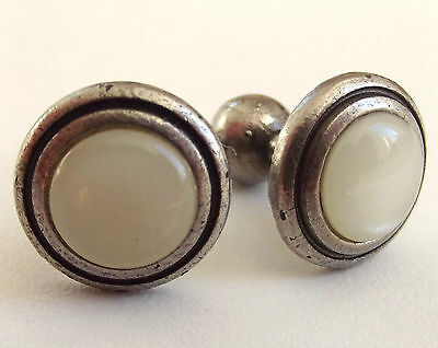 Vintage cufflinks Mother of pearl effect Round Domed Fixed bar