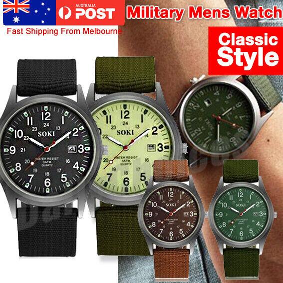 Military Sport Mens Quartz Army Date Analog Luminous Canvas Strap Wrist Watch