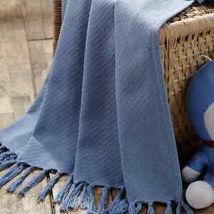 BABY WOVEN THROW BLANKET SKY BLUE 36X48 WHITE TASSELS COTTON NURSERY ACCESSORIES