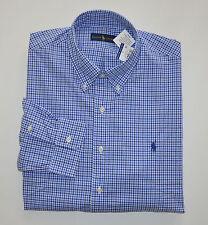 NWT Men's Ralph Lauren Casual Long-Sleeve Shirt, Blue, White, XL, X-Large