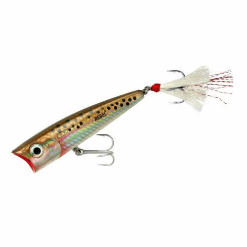 and Redfish Lure Striper Rebel Super Pop-R 3 1//8 inch Topwater Popper Bass