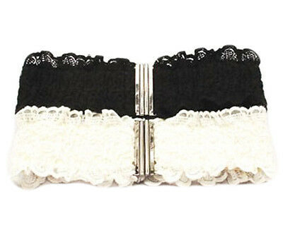 Women Fashion Lace Clasp Buckle Elastic Stretch Corset Waist Belt (Black/White)