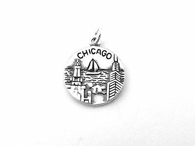 Sterling Silver Two-Sided Chicago Coin Charm - 1011
