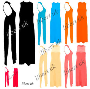 bb0ea02a748 Womens ladies Casual Side High Slits Tee Long Top Maxi Dress T-shirt ...