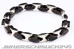 Edelstahl-Armband-Bicolor-schwarz-silber-hochwertiger-Herren-Schmuck-Geschenk